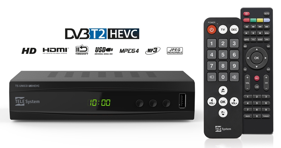 set-top box TELE System TS UNICO, DVB-T2